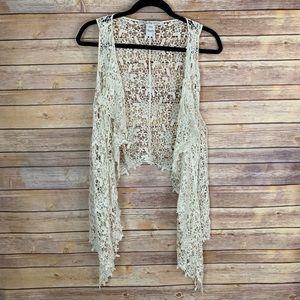 3/$30 American Rag L Cream Ivory Crochet Vest